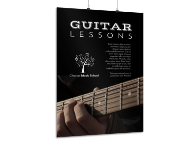 School Guitar Lessons Poster Template preview