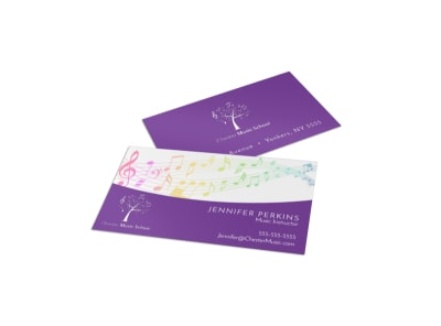 Purple Music Lesson Business Card Template preview