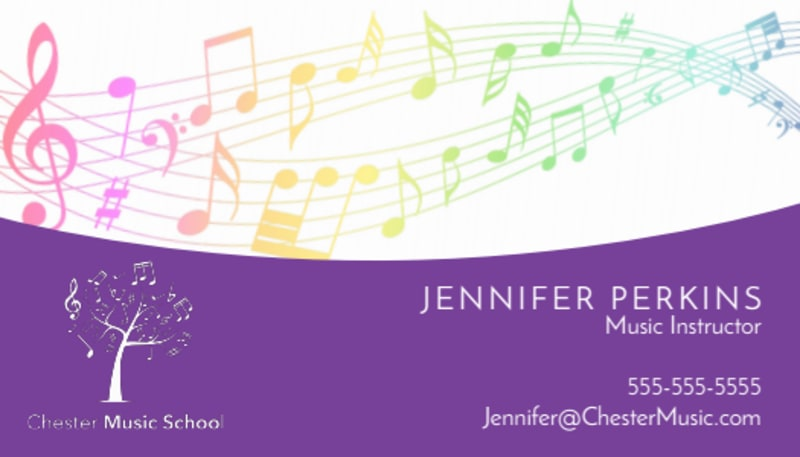 Purple Music Lesson Business Card Template Preview 2