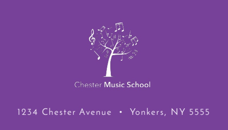 Purple Music Lesson Business Card Template Preview 3