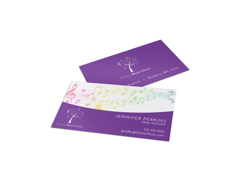 Purple Music Lesson Business Card Template Preview 1