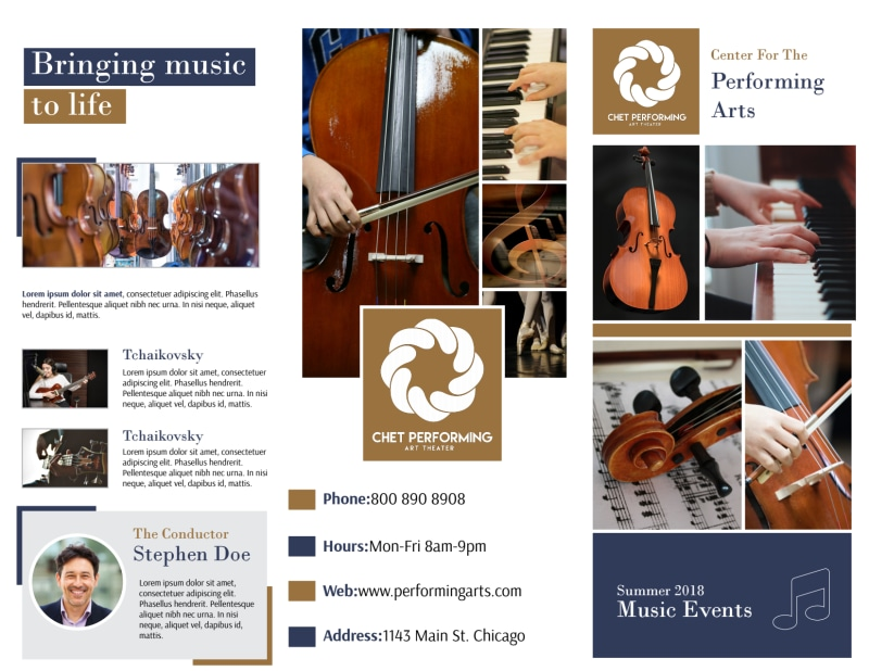 Performing Arts Tri-Fold Brochure Template Preview 2