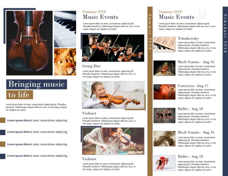 Performing Arts Tri-Fold Brochure Template Preview 3