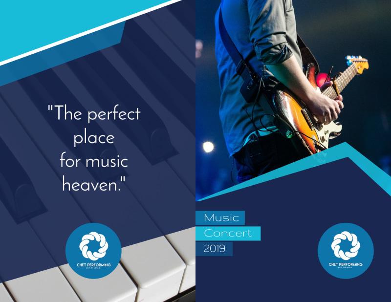 Blue Music Concert Bi-Fold Brochure Template Preview 2