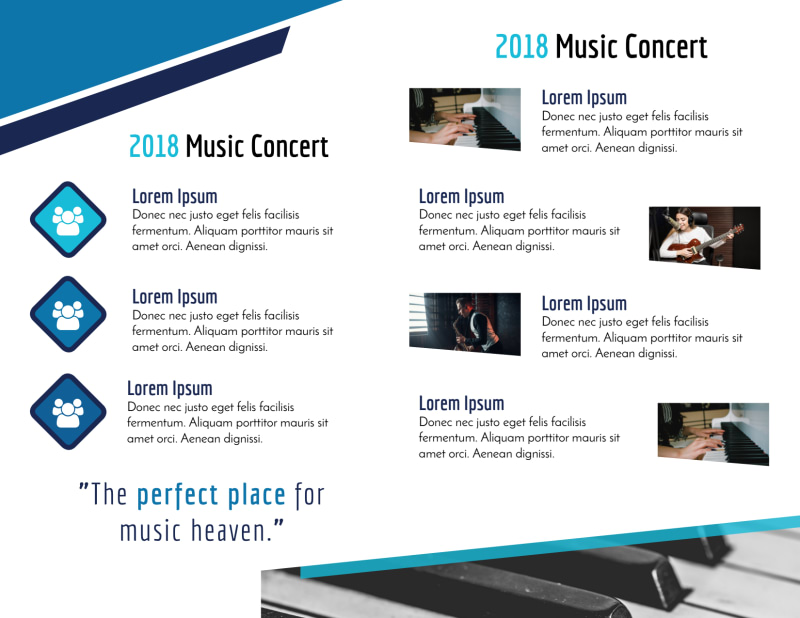Blue Music Concert Bi-Fold Brochure Template Preview 3