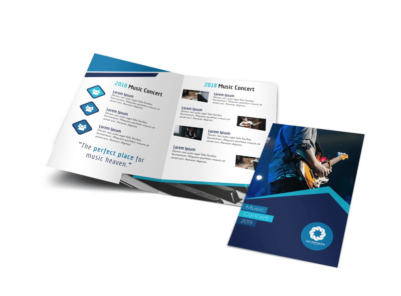 Blue Music Concert Bi-Fold Brochure Template Preview 1