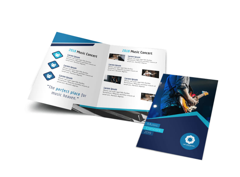 Blue Music Concert Bi Fold Brochure Template Mycreativeshop