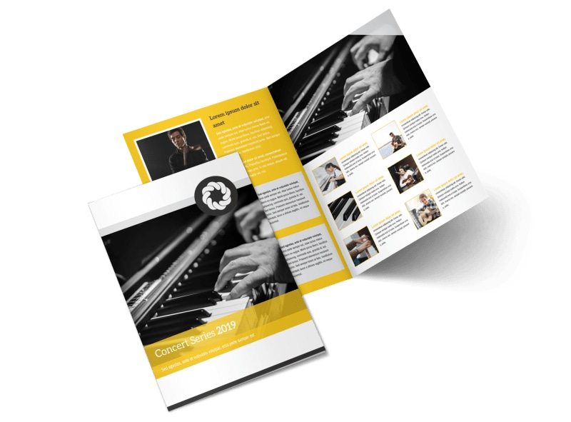 Yellow Concert Bi-Fold Brochure Template Preview 4