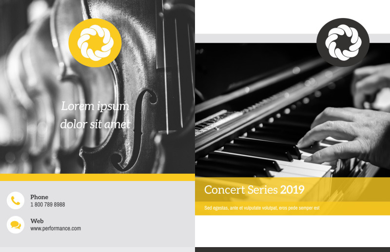 Yellow Concert Bi-Fold Brochure Template Preview 2