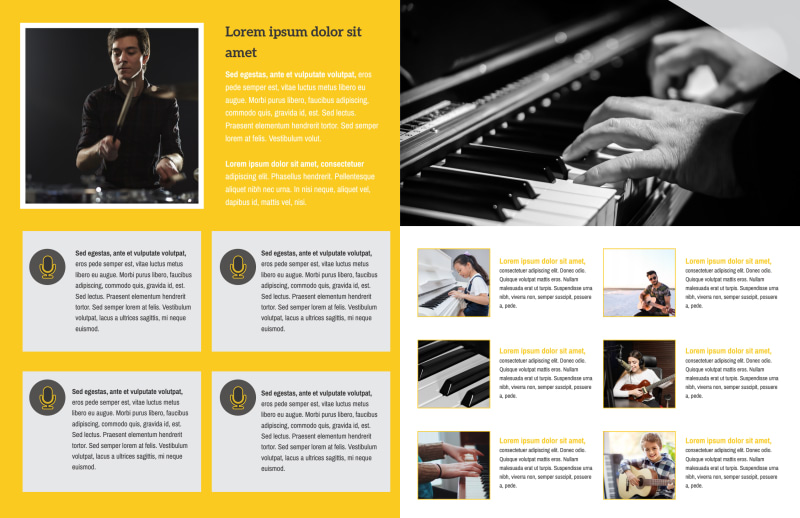 Yellow Concert Bi-Fold Brochure Template Preview 3