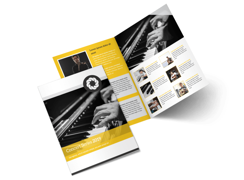 Yellow Concert Bi-Fold Brochure Template Preview 1