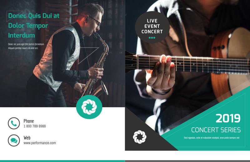 Live Concert Event Bi-Fold Brochure Template Preview 2