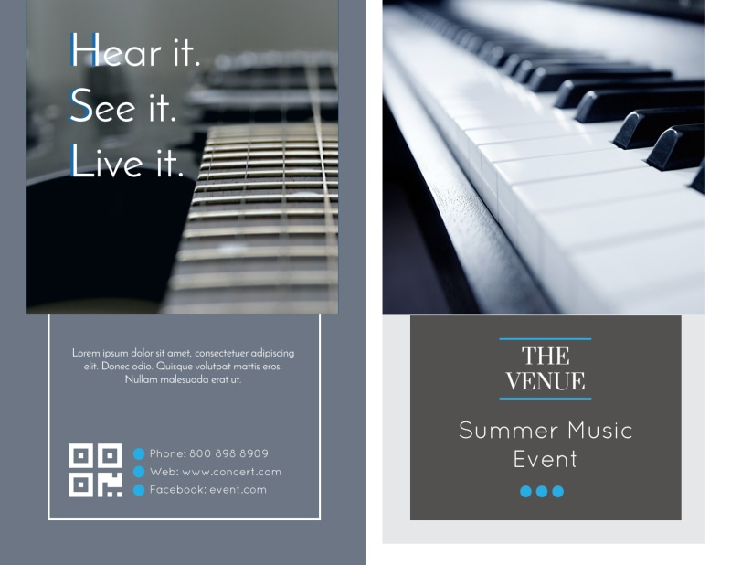 Summer Music Venue Bi-Fold Brochure Template Preview 2