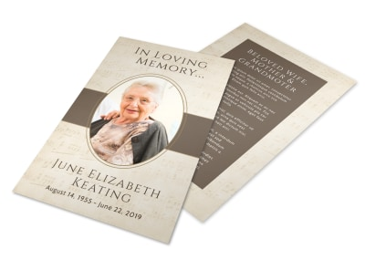 Funeral Loving Memory Flyer Template preview