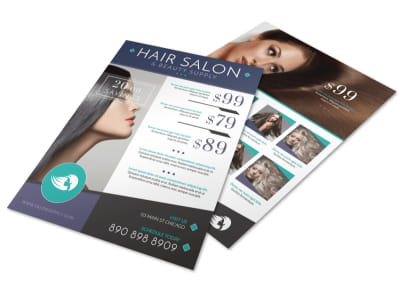 Hair Salon Beauty Supply Flyer Template preview