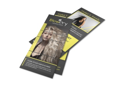 Blow Dry Hair Stylist Flyer Template preview