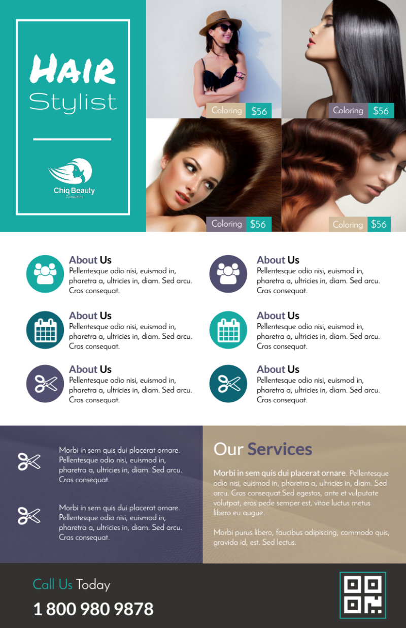 Awesome Hair Stylist Flyer Template Preview 2