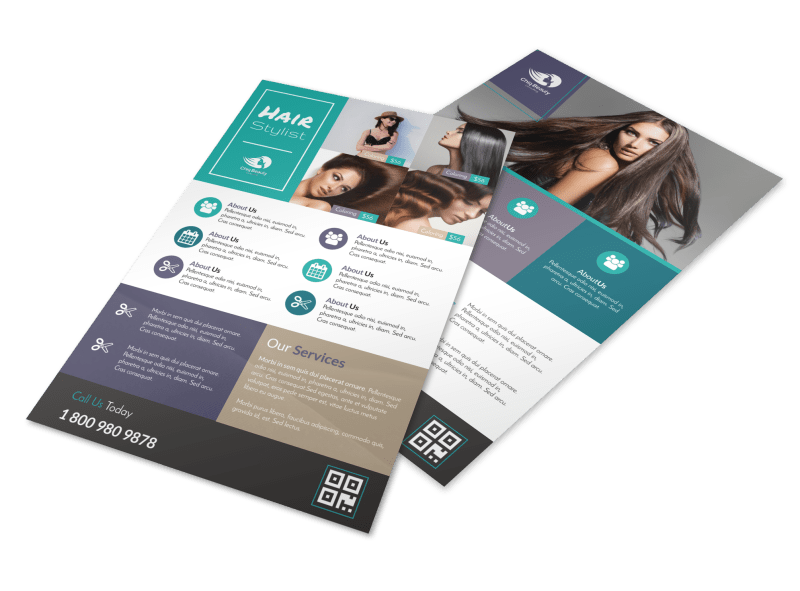 Awesome Hair Stylist Flyer Template Preview 1