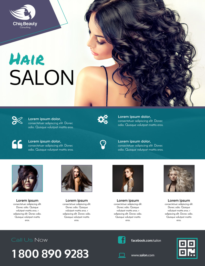 Beautiful Hair Stylist Flyer Template Preview 2