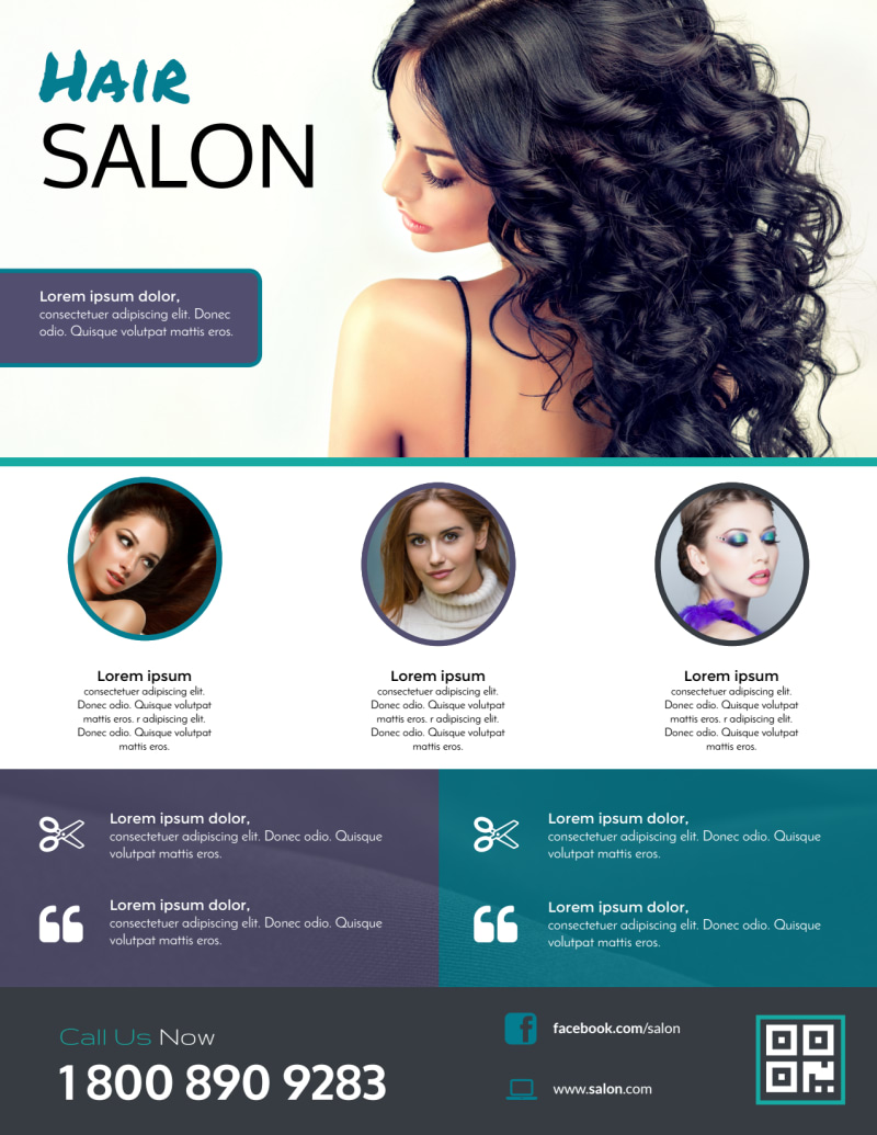 Beautiful Hair Stylist Flyer Template Preview 3