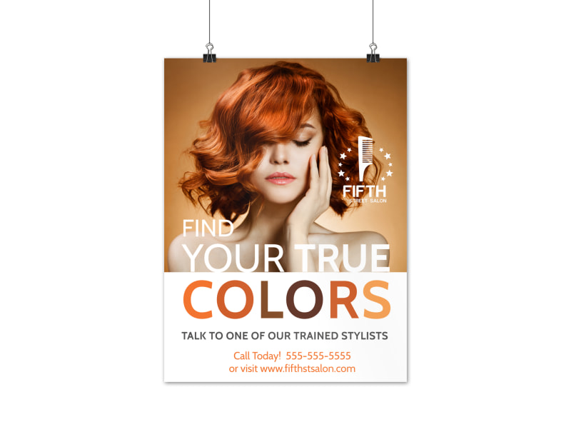 Colorful Hair Stylist Poster Template