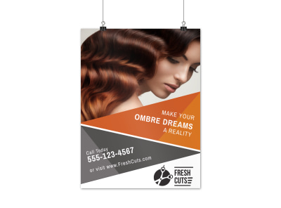 Ombre Hair Stylist Poster Template preview