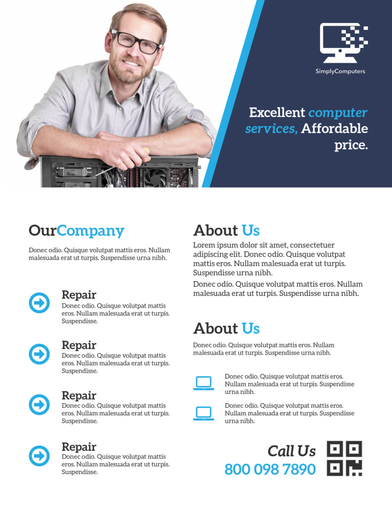 Blue Professional Computer Repair Flyer Template Preview 3