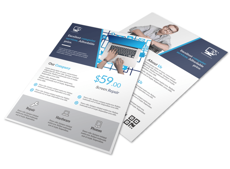 Blue Professional Computer Repair Flyer Template Preview 1