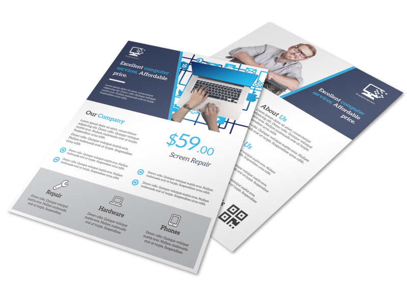 Blue Professional Computer Repair Flyer Template