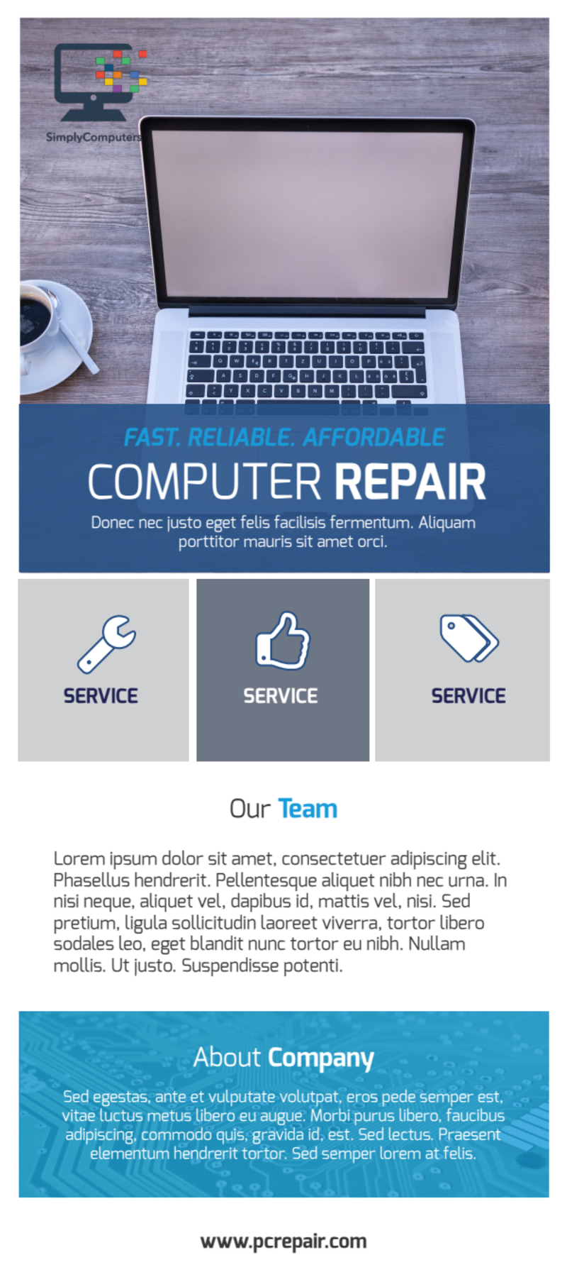 Blue Computer Repair Flyer Template Preview 2