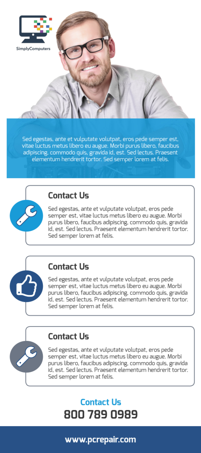 Blue Computer Repair Flyer Template Preview 3