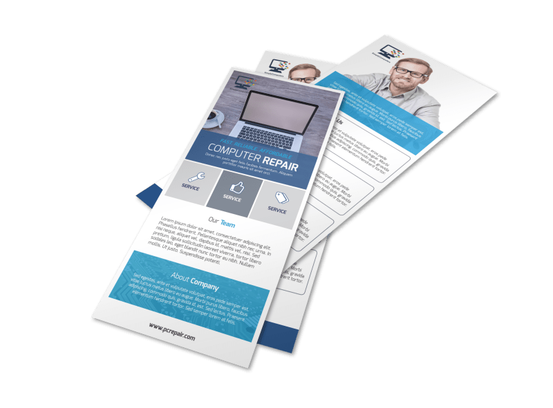 Blue Computer Repair Flyer Template Preview 1