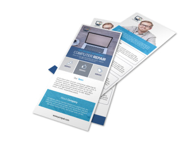 Blue Computer Repair Flyer Template preview