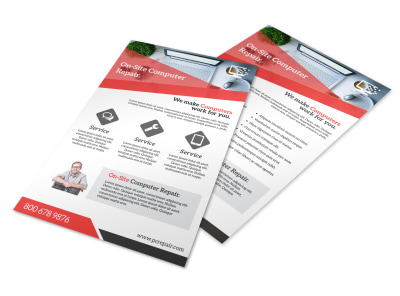 Red Computer Repair Flyer Template
