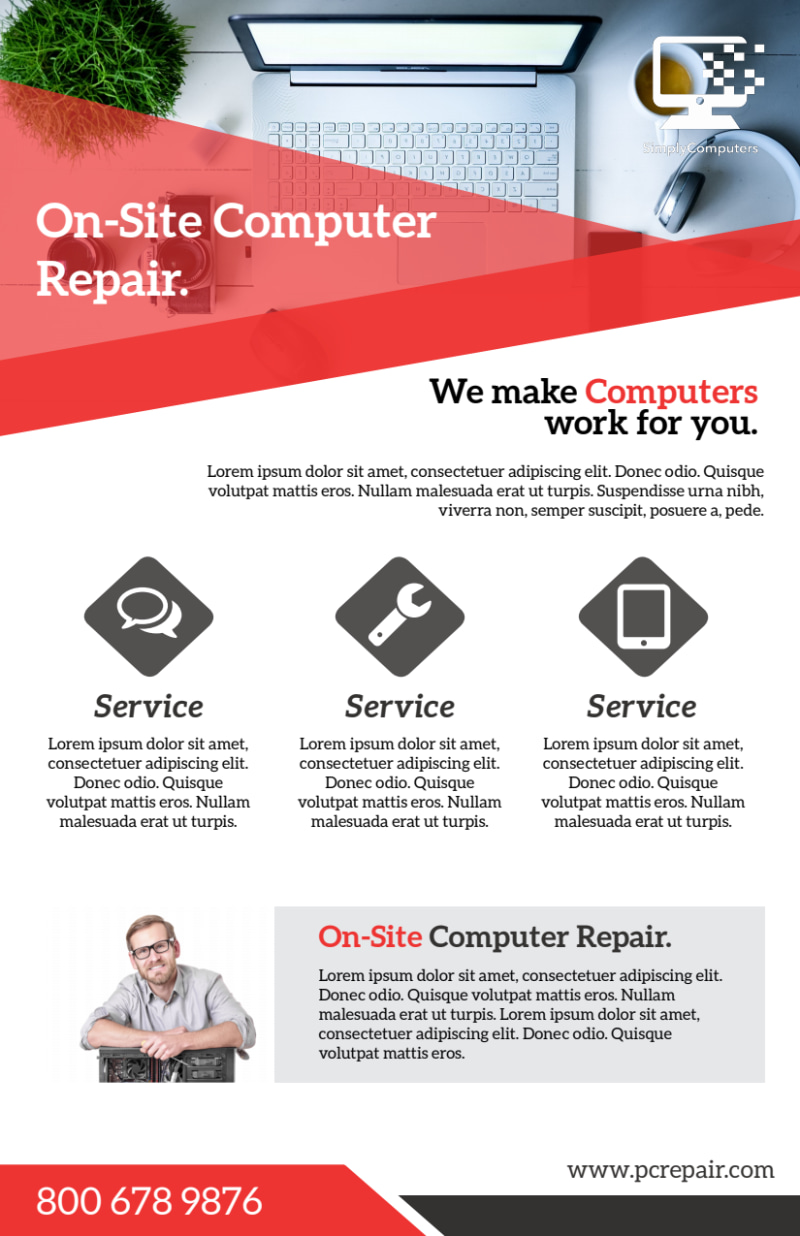 Red Computer Repair Flyer Template Preview 2