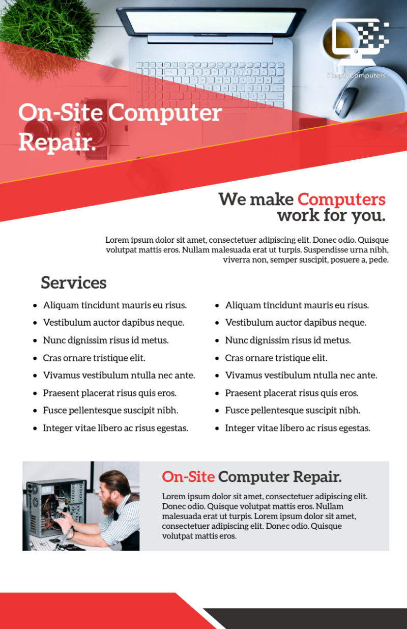 Red Computer Repair Flyer Template Preview 3