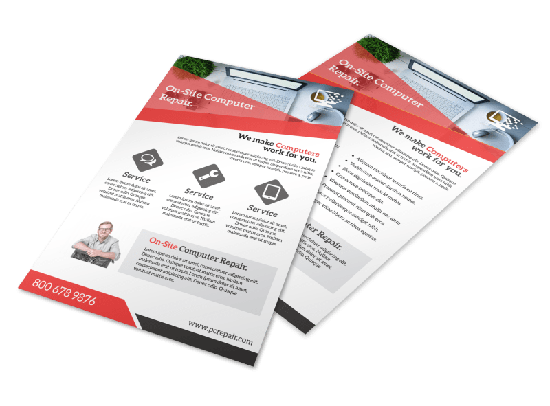Red Computer Repair Flyer Template Preview 1