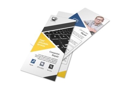 Yellow Computer Repair Flyer Template preview