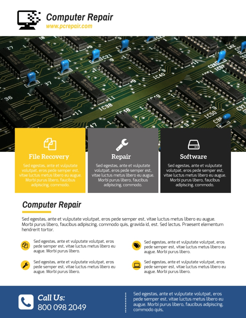 Professional Computer Repair Flyer Template Preview 3