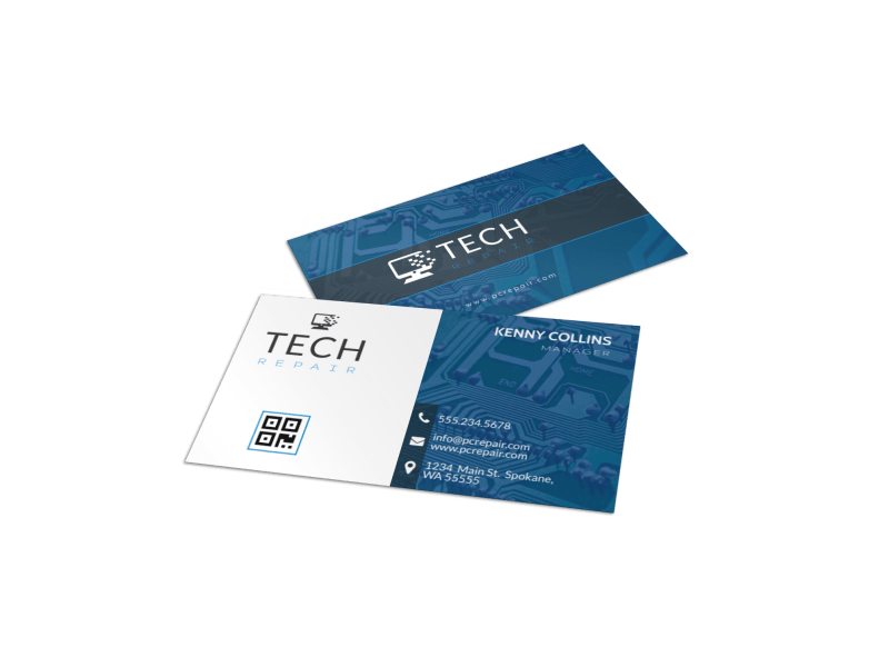 Blue Computer Repair Business Card Template Preview 1