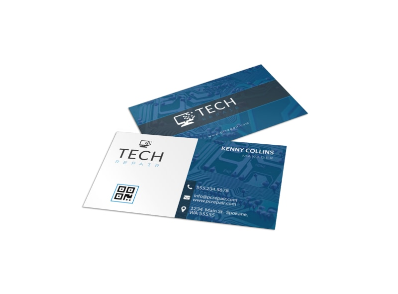 Blue Computer Repair Business Card Template Preview 4