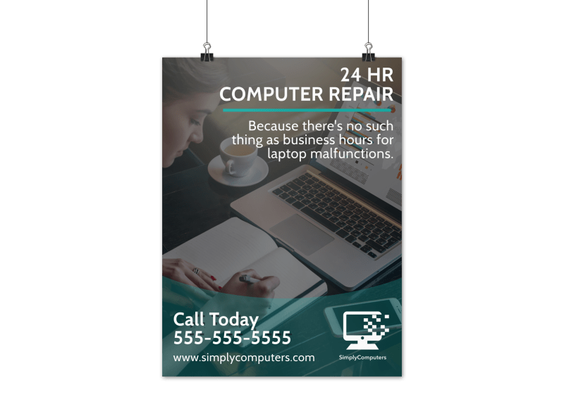 24 Hour Computer Repair Poster Template Preview 1