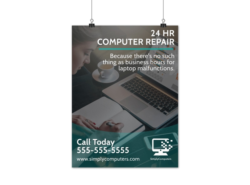 24 Hour Computer Repair Poster Template