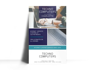 Techno Computer Repair Poster Template preview