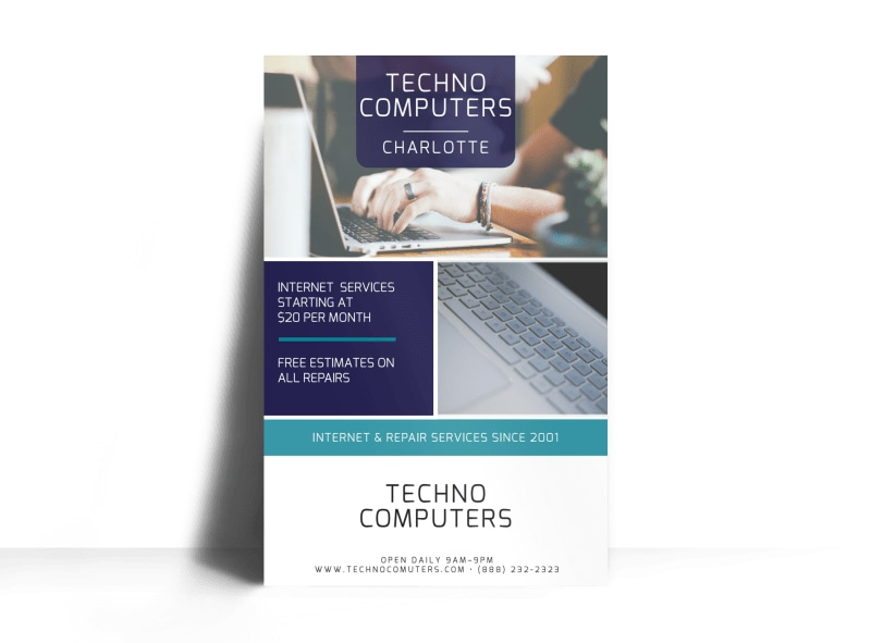 Techno Computer Repair Poster Template