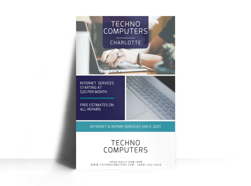 Techno Computer Repair Poster Template Preview 1