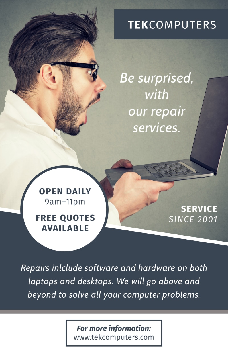 Computer Repair Service Poster Template Preview 2