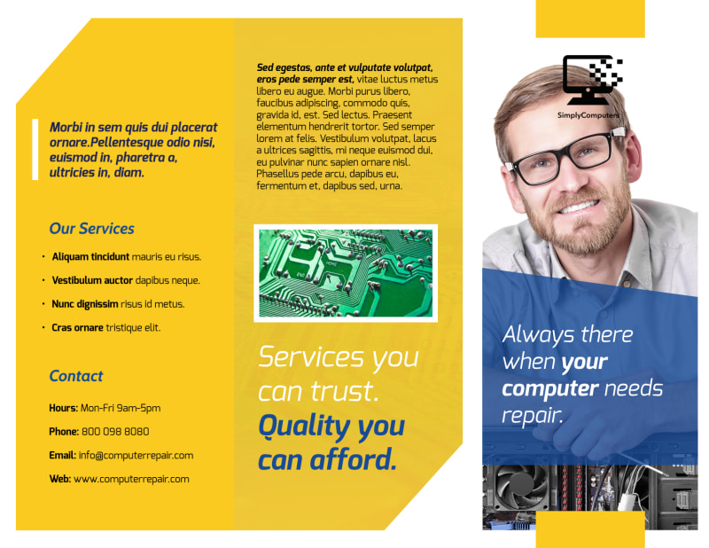 Classic Computer Repair Tri-Fold Brochure Template Preview 2