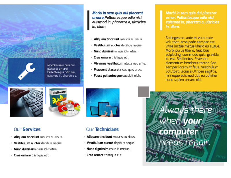 Classic Computer Repair Tri-Fold Brochure Template Preview 3