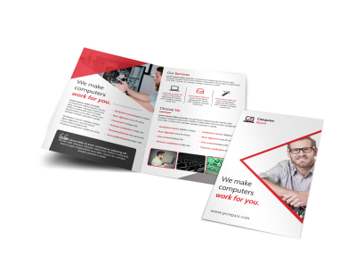 Red Computer Repair Bi-Fold Brochure Template